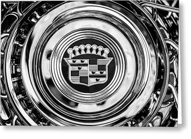 1960 Greeting Cards - 1960 Cadillac Series 62 Convertible wheel -1083bw Greeting Card by Jill Reger