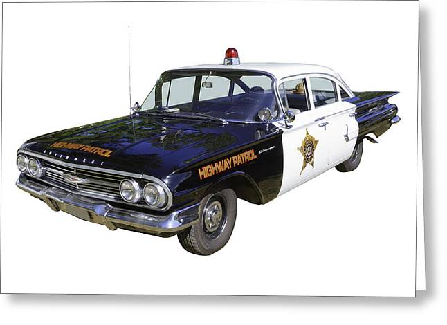 Cop Car Greeting Cards - 1960 Chevrolet Biscayne Police Car Greeting Card by Keith Webber Jr