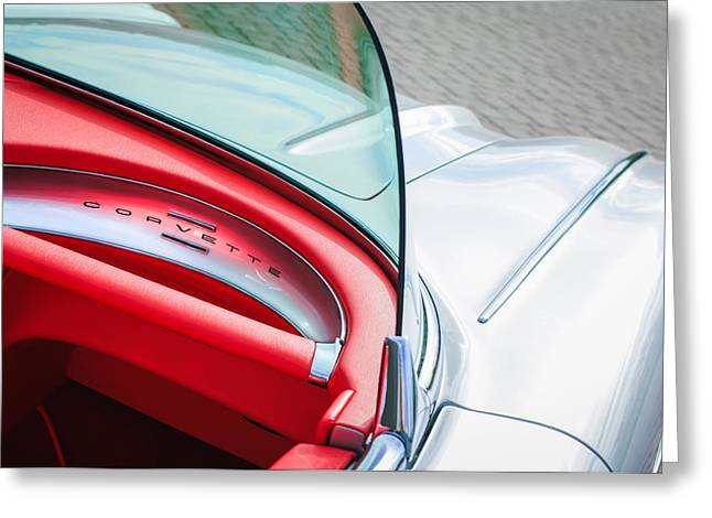1960 Greeting Cards - 1960 Chevrolet Corvette Dashboard Emblem Greeting Card by Jill Reger