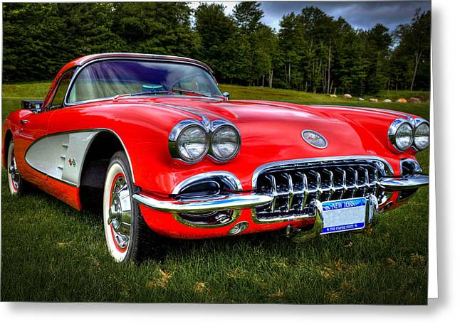 Collector Hood Ornament Greeting Cards - 1960 Chevrolet Corvette Greeting Card by David Patterson