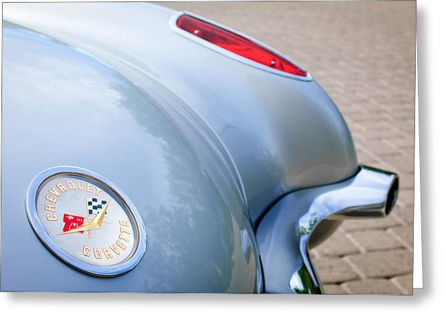 1960 Greeting Cards - 1960 Chevrolet Corvette Emblem - Taillight Greeting Card by Jill Reger