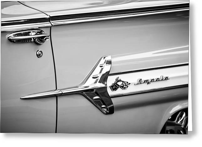 1960 Greeting Cards - 1960 Chevrolet Impala Emblem -340bw Greeting Card by Jill Reger