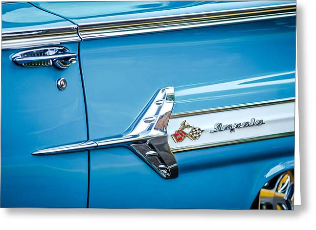 1960 Greeting Cards - 1960 Chevrolet Impala Emblem -340c Greeting Card by Jill Reger