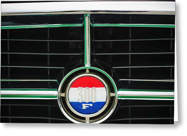 1960 Chrysler 300F Convertible Grille Emblem Greeting Card by Jill Reger