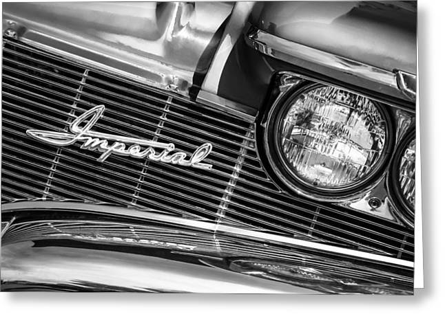 1960 Greeting Cards - 1960 Chrysler Imperial Grille Emblem -0269bw Greeting Card by Jill Reger