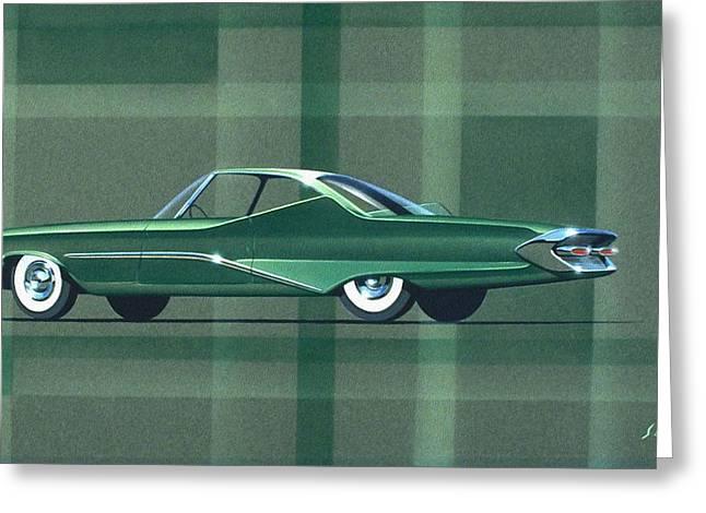 Automotive History Greeting Cards - 1960 DESOTO  vintage styling design concept rendering sketch Greeting Card by John Samsen