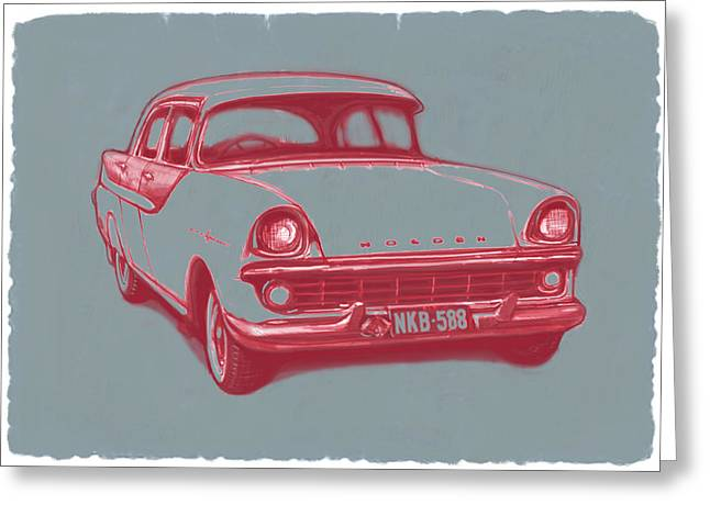 Pop Music Mixed Media Greeting Cards - 1960 FB Holden car art sketch poster Greeting Card by Kim Wang