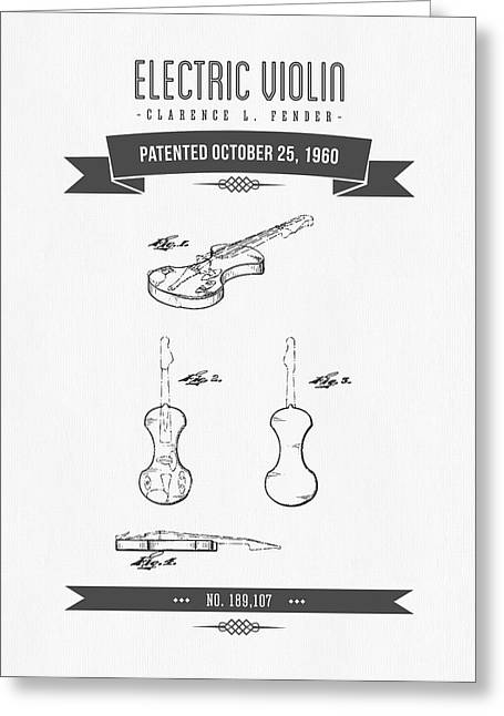 Instrument Mixed Media Greeting Cards - 1960 Fender Electric Violin Patent Drawing Greeting Card by Aged Pixel