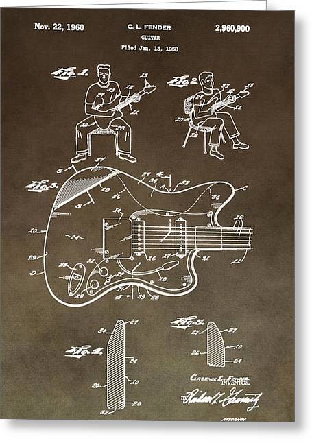Playing Digital Art Greeting Cards - 1960 Fender Guitar Patent Greeting Card by Dan Sproul