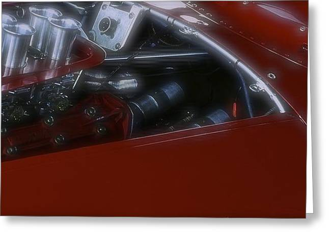 1960 Greeting Cards - 1960 Ferrari 246 Dino Engine Detail Greeting Card by John Colley