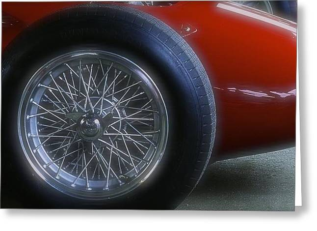 1960 Greeting Cards - 1960 Ferrari 246 Dino Front Wheel Greeting Card by John Colley
