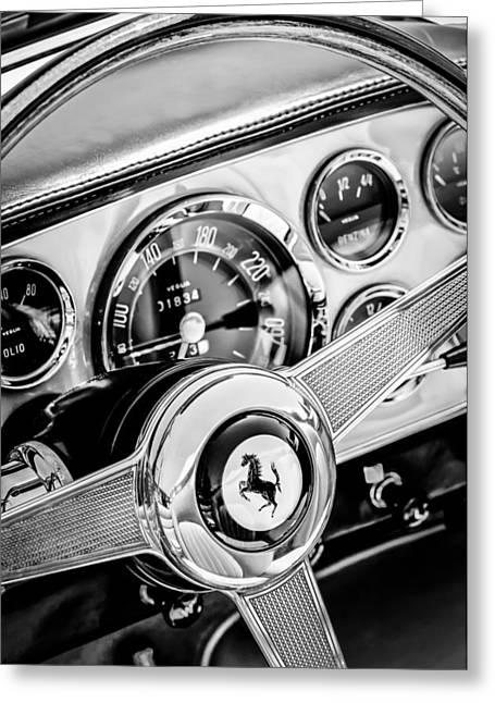 Ferrari 250gt Greeting Cards - 1960 Ferrari 250 GT Cabriolet Pininfarina Series II Steering Wheel Emblem -1319bw Greeting Card by Jill Reger