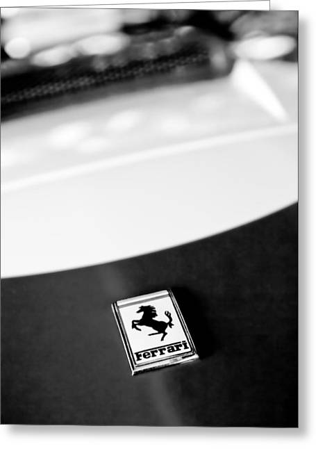 1960 Greeting Cards - 1960 Ferrari 250 Gt Swb Berlinetta Competizione Hood Emblem Greeting Card by Jill Reger
