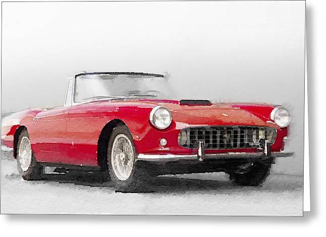 Ferrari 250gt Greeting Cards - 1960 Ferrari 250GT Pinifarina Watercolor Greeting Card by Naxart Studio