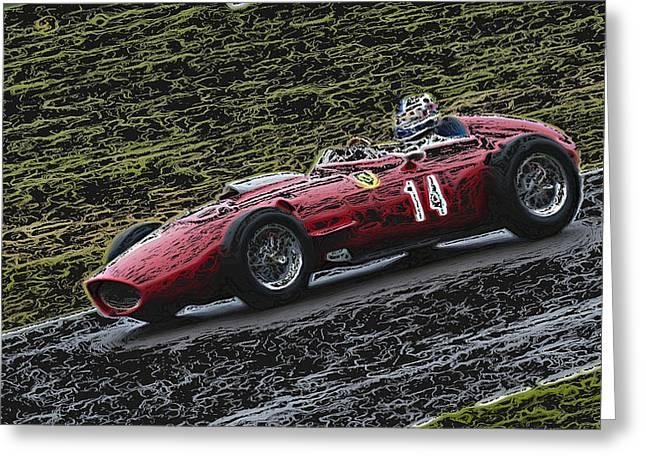 Single Seater Greeting Cards - 1960 Ferrari Dino Racing Car 2 Greeting Card by John Colley