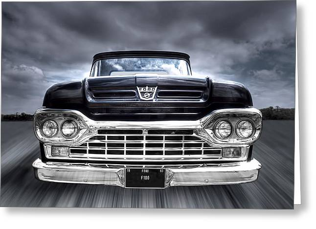 Monochrome Hot Rod Greeting Cards - 1960 Ford F100 Pick Up Head On Greeting Card by Gill Billington