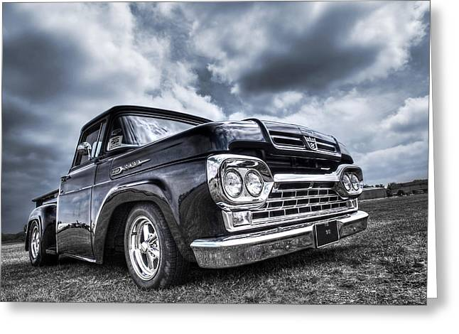 Slammer Greeting Cards - 1960 Ford F100 Truck Greeting Card by Gill Billington