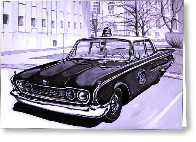 Recently Sold -  - Fifes Police Car Greeting Cards - 1960 Ford Fairlane Police Car Greeting Card by Neil Garrison