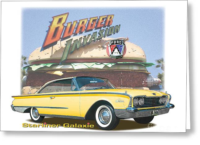 Cheeseburger Digital Greeting Cards - 1960 Ford Galaxie Starliner Greeting Card by Dan Knowler