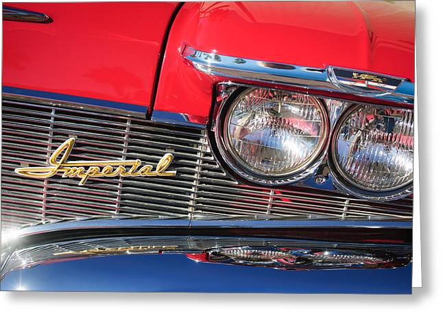 1960 Greeting Cards - 1960 Imperial Crown Convertible Grille Emblem Greeting Card by Jill Reger