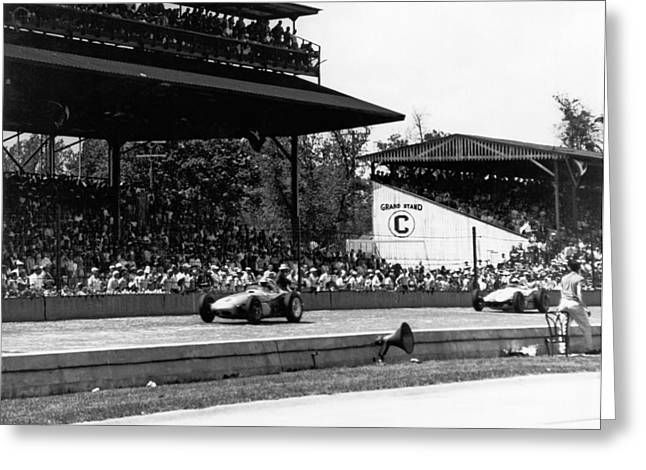 1960 Indy 500 Race Greeting Card by Underwood Archives