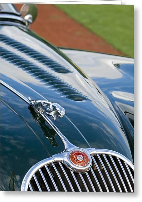 150 Greeting Cards - 1960 Jaguar XK 150S FHC Hood Ornament 3 Greeting Card by Jill Reger