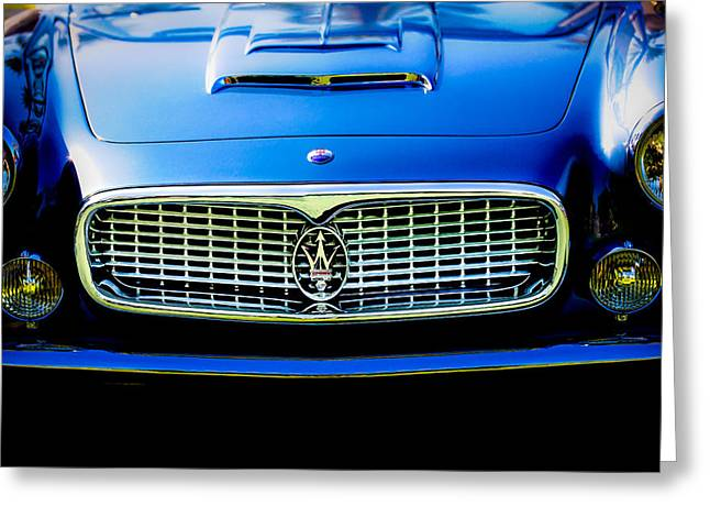 1960 Greeting Cards - 1960 Maserati 3500 GT Spyder Grille Emblem Greeting Card by Jill Reger