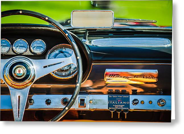 1960 Greeting Cards - 1960 Maserati 3500 GT Spyder Steering Wheel Emblem Greeting Card by Jill Reger