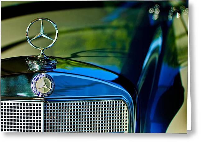 Beach Photography Greeting Cards - 1960 Mercedes-Benz 220 SE Convertible Hood Ornament Greeting Card by Jill Reger