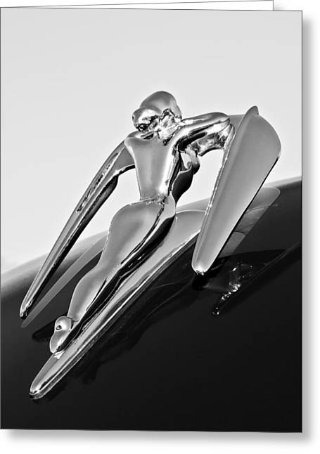 Vintage Hood Ornament Greeting Cards - 1960 Nash Metropolitan -0854BW Greeting Card by Jill Reger