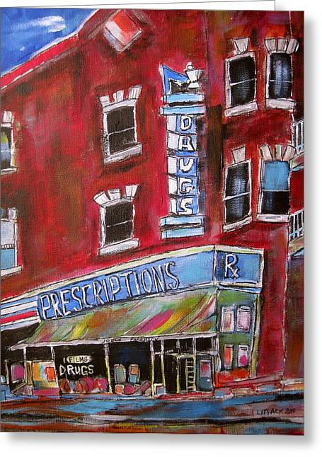Old Jewish Area Greeting Cards - 1960 Pharmacy St. Viateur Greeting Card by Michael Litvack