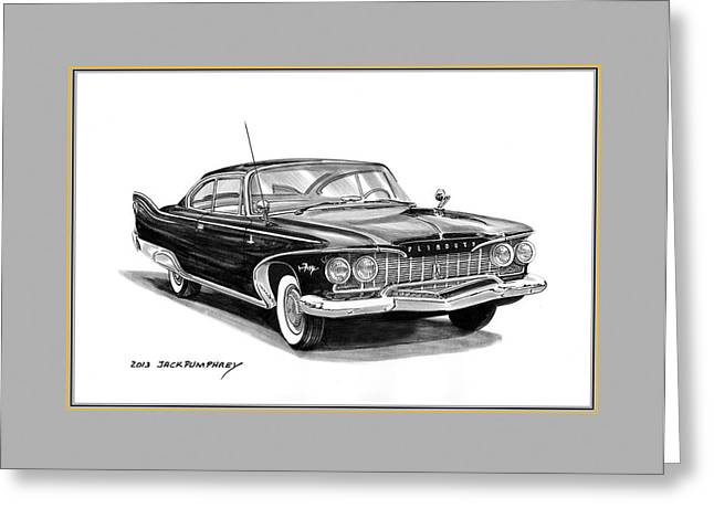 Division Drawings Greeting Cards - 1960 Plymouth Fury Greeting Card by Jack Pumphrey