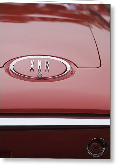 1960 Greeting Cards - 1960 Plymouth XNR Ghia Roadster  Emblem Greeting Card by Jill Reger