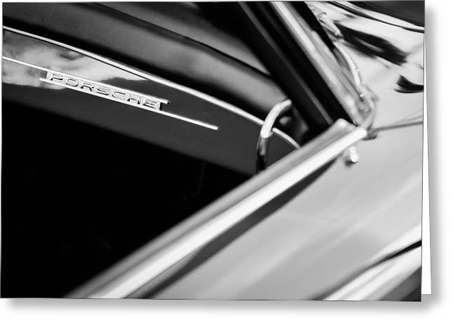 1960 Greeting Cards - 1960 Porsche 356 B Dash Emblem -1127bw Greeting Card by Jill Reger