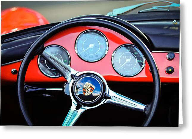 1960 Greeting Cards - 1960 Porsche 356 B Roadster Steering Wheel Emblem -1096c Greeting Card by Jill Reger