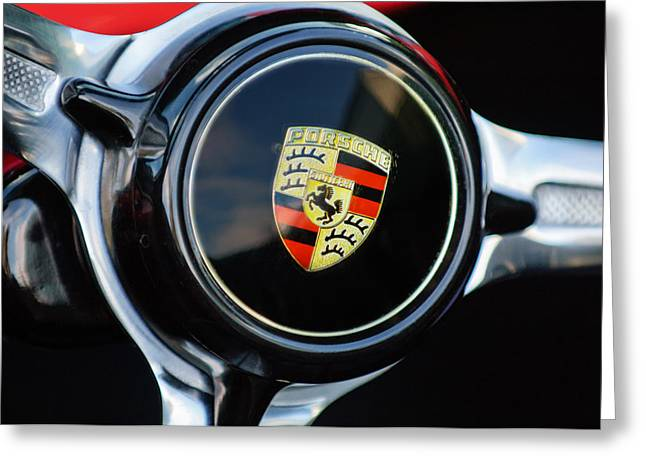 Steering Greeting Cards - 1960 Porsche 356 B Roadster Steering Wheel Emblem Greeting Card by Jill Reger