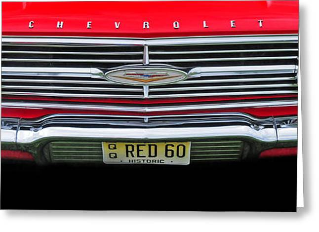 1960 Greeting Cards - 1960 Red Chevy Greeting Card by Dave Mills