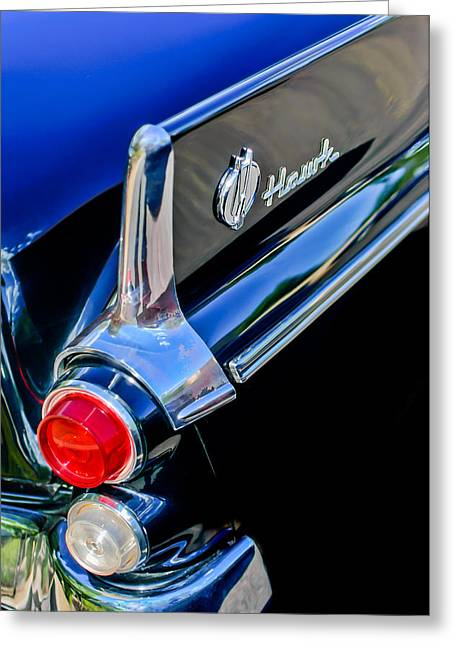 1960 Greeting Cards - 1960 Studebaker Hawk Coupe Taillights and Emblem Greeting Card by Jill Reger
