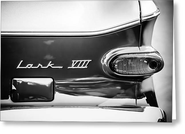 1960 Greeting Cards - 1960 Studebaker Lark VIII Taillight Emblem -154bw Greeting Card by Jill Reger