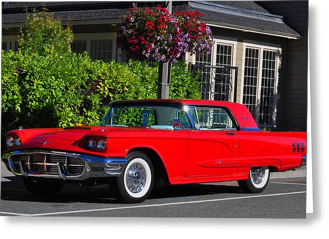 Birght Greeting Cards - Red 1960 T-Bird - Hardtop Thunderbird  Greeting Card by Bryan Hanson