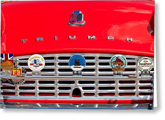 1960 Greeting Cards - 1960 Triumph TR3 Grille Emblems Greeting Card by Jill Reger