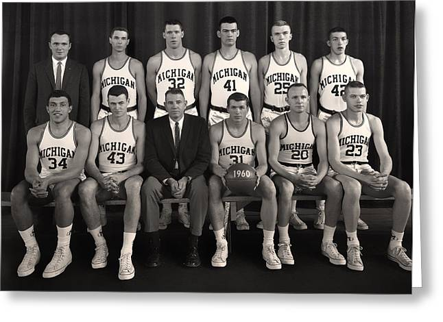University Of Michigan Greeting Cards - 1960 University of Michigan Basketball Team Photo Greeting Card by Mountain Dreams