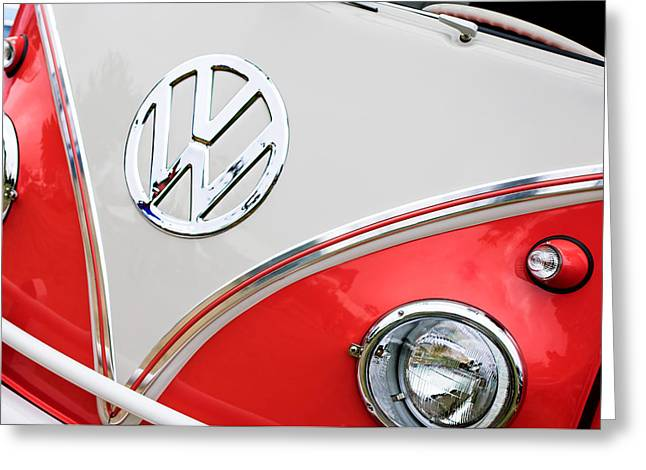 1960 Greeting Cards - 1960 Volkswagen VW 23 Window Microbus Emblem Greeting Card by Jill Reger