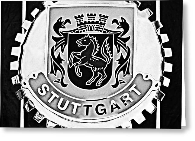 Stuttgart Greeting Cards - 1960 Volkswagen VW Porsche 356 Carrera GS GT Replica Stuttgart Emblem Greeting Card by Jill Reger