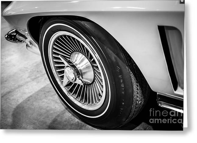 Stinging Greeting Cards - 1960s Chevrolet Corvette C2 Spinner Wheel Greeting Card by Paul Velgos