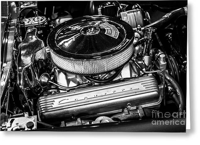 Compartments Greeting Cards - 1960s Corvette 327 350HP Engine Greeting Card by Paul Velgos