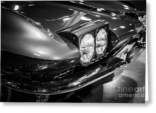 Second Photographs Greeting Cards - 1960s Corvette in Black and White Greeting Card by Paul Velgos