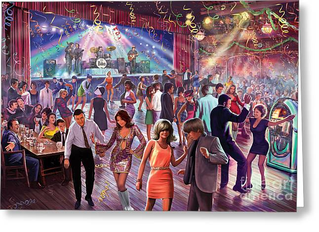 Crisp Greeting Cards - 1960s Dance Scene Greeting Card by Steve Crisp