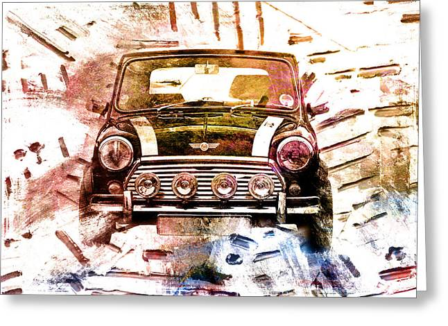 Small Digital Greeting Cards - 1960s Mini Cooper Greeting Card by David Ridley