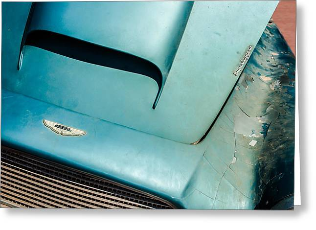 Find Greeting Cards - 1961 Aston Martin DB4 Hood Emblem -0490c Greeting Card by Jill Reger
